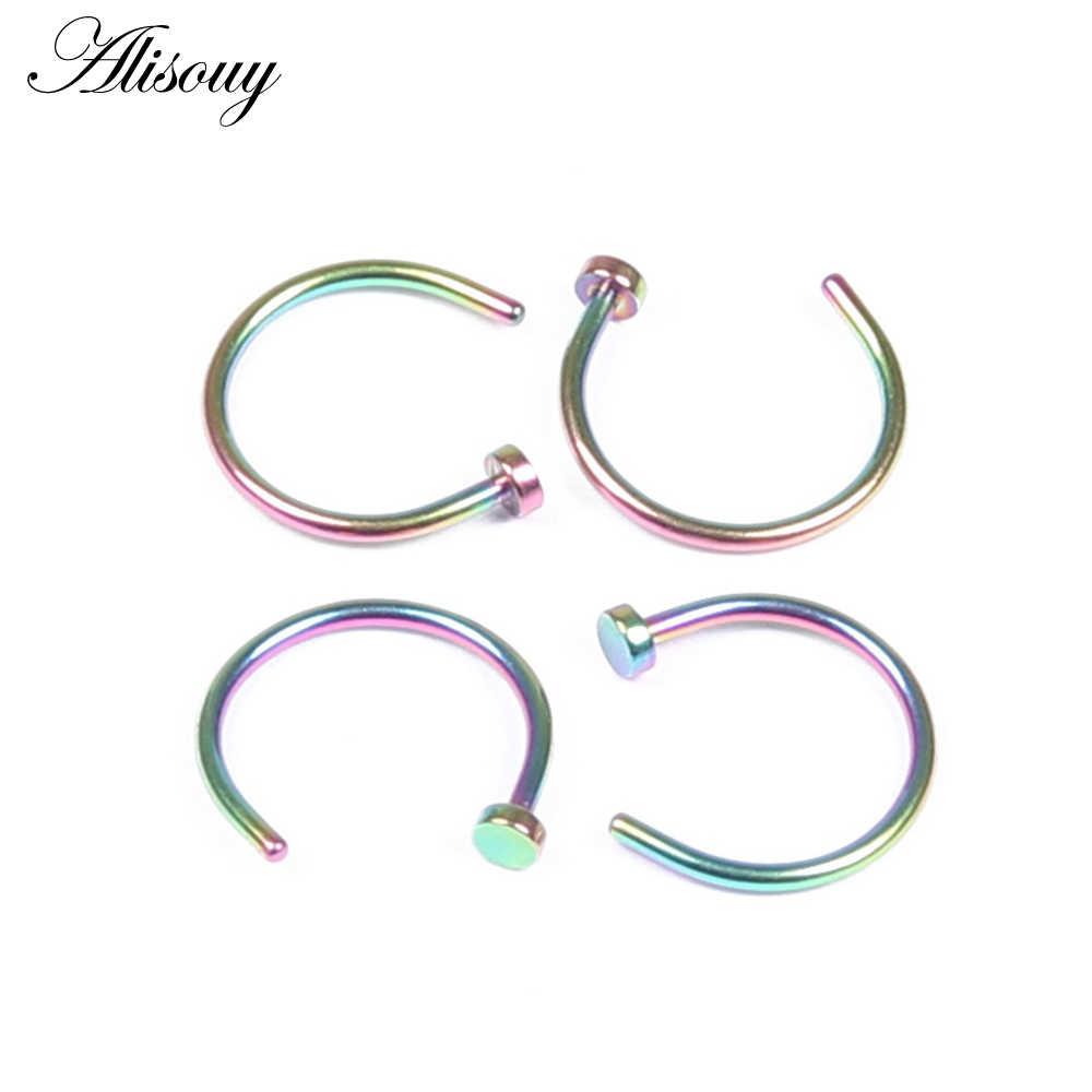 Alisouy 1 PC falso anillo de nariz Labret labio anillo C Clip de labio Piercing Helix Piercing Tragus imitación nariz anillos aro neus nariz tabique
