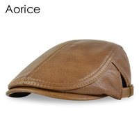 Aorice Men S Real Leather Baseball Cap Hat 2017 Brand New Black Brown Soft Leather Driving