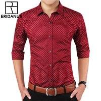 Men Shirt 2016 Fashion Brand Spring Breathable Long Sleeved Shirts Social Patchwork Polka Dot Male Printed
