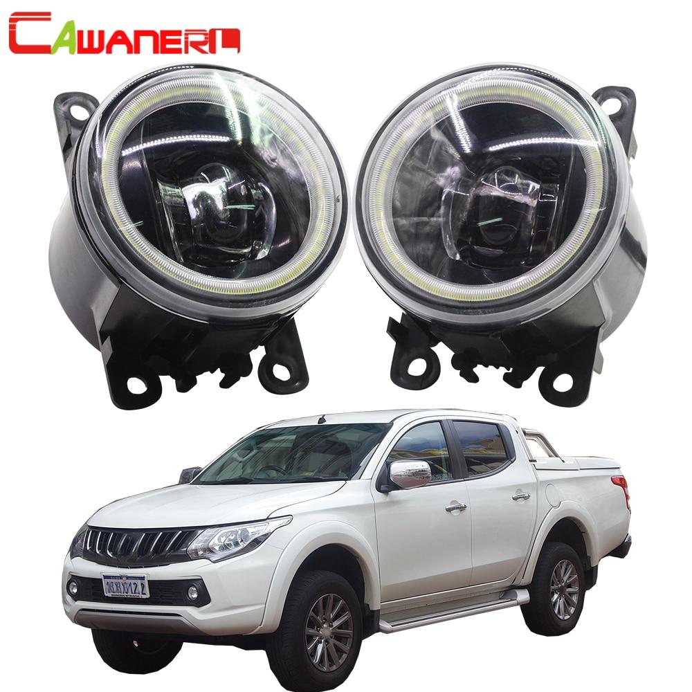 Cawanerl For Mitsubishi Triton Strada 2005 2018 Car 4000LM H11 LED Fog Light Lamp Angel Eye Daytime Running Light DRL 12V