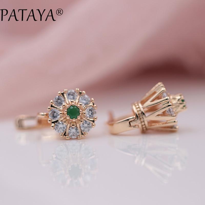 PATAYA New Arrivals Bridal 585 Rose Gold Green Natural Zircon  Lotus Drop Earrings Women Wedding Romantic Jewelry Multicolor