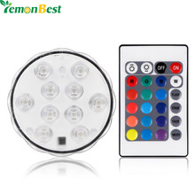Colorful IP68 RGB 10 LED RGB Light Remote Control Vase Lamp for Party Containers Pool Underwater Light(China)