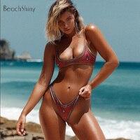 Newest Bikini Swimwear Women Swimsuit Geometric Print Bikini 2018 Sexy Thong Bottom Vintage Print Female Beachwear