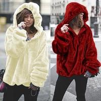 Oversized Hoodies Sweatshirt 2018 Winter Warm Women Hoodies Casual Coral Velvet Zip Long Sleeve Pullover Hooded Jumper Top Coats