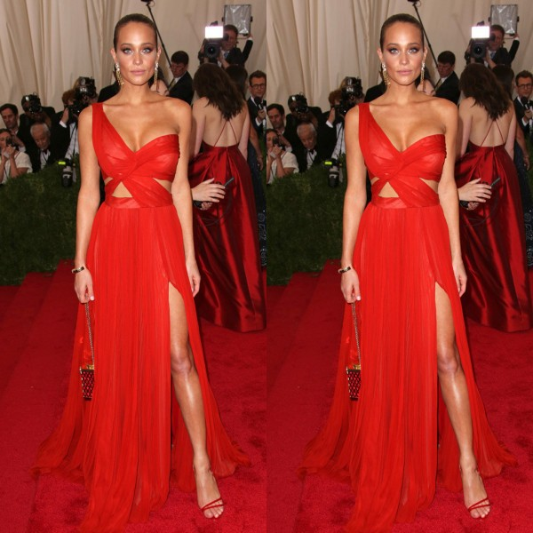 2018 New Met Gala Hannah Davis Sexy Red Carpet Chiffon Backless Split Side Floor Length Custom Made Vestido   bridesmaid     dresses