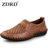 Zdrd новый бренд реальные натуральная кожа повседневная мужская обувь; летние мужские Размер 38-44 наивысшего качества мужская обувь дышащий
