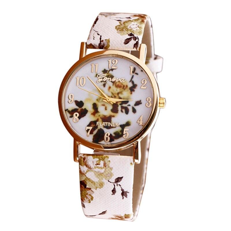 Fashion New Women's Watch Flower Patterns Leather Watches Lady Girl Dress Relogio Analog Quartz Vogue Wrist Watches