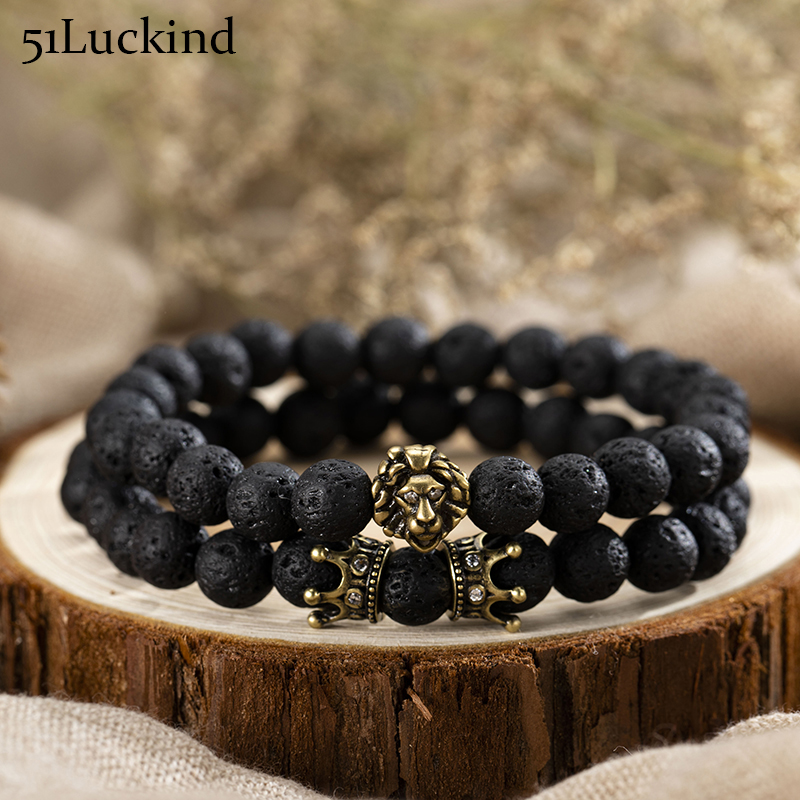 Fashion 2 Paired Lava Stone Beads Bracelet Antique Gold Silver Color Lion Braclet For Men Wristband Bracelets Biker Jewelry