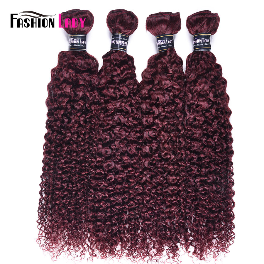 Fashion Lady Pre-colored Peruvian Curly Hair Extensions Red Human Hair Bundles 4 Bundles 99j Hair Weave Non-remy