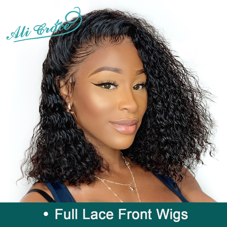 Wigs Human-Hair Ali-Grace Glueless Full-Lace Curly Women for Brazilian Kinky 150%Density