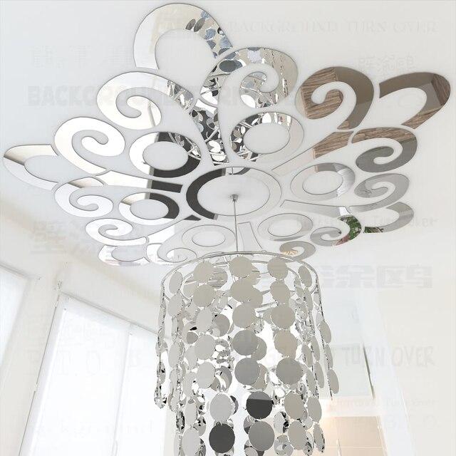 Blume Blüht Muster Reflektierende 3D Decke Spiegel Dekorative Wandaufkleber  Wohnzimmer Schlafzimmer Dekoration Wohnkultur R047