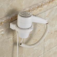 White Plastic Hotel Electric Hair Dryer Wall Mount Bath Hair Drier