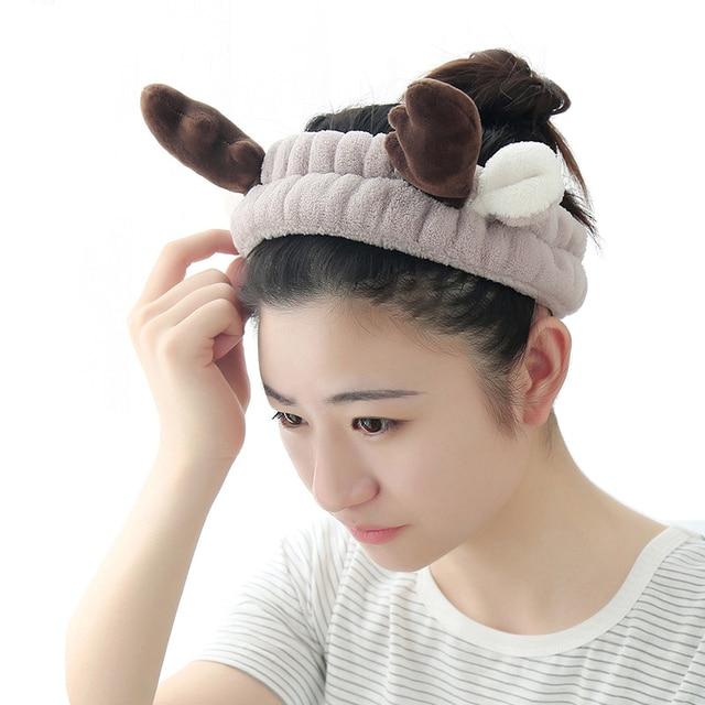 Cartoon Three-Dimensional Antlers Bath Cap Shower Hairdressing Wash Face  Headband Woman Elastic Hair Band Home Bathroom Supplies 87272952a277
