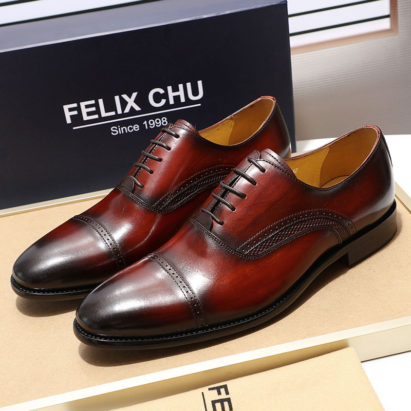 Felix Chu Handmade Real Leather-based Mens Gown Sneakers Black Burgundy Cap Toe Males Oxfords Marriage ceremony Workplace Enterprise Male Formal Sneakers