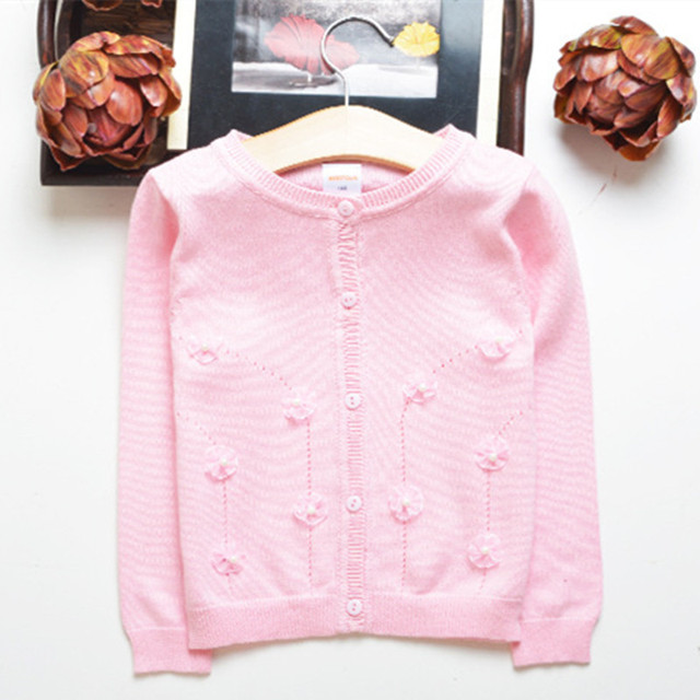 2017 new girls sweater 100% cotton knit floral open stitch baby girls cardigan t-shirt casual spring autumn kids clothing hx031