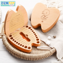 Hard beech wooden box Tooth box organizer Save milk box Store children's tooth gift umbilical cord