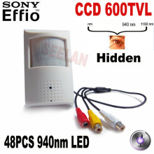 600tvl 1/3″Sony CCD 960H Security Indoor CCTV PIR camera Style mini camera mini ccd 48pcs 940nm led IR Night vision pir camera
