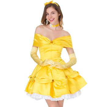 7c8f45237911 Amarillo fantasía belleza y bestia bella princesa vestido adulto fiesta de  Navidad Halloween vestido Bella bestia