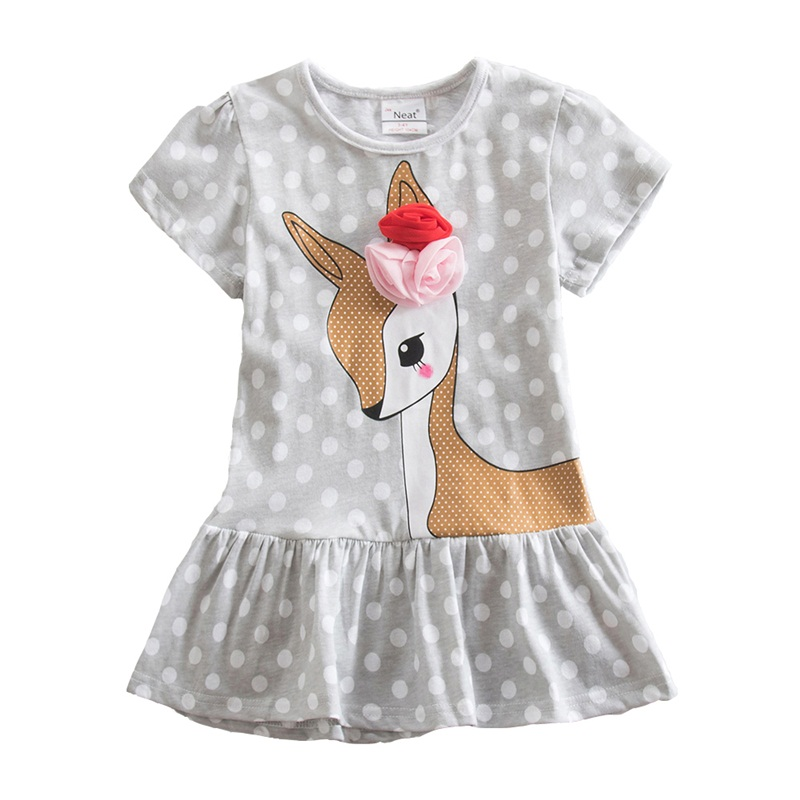 4-8Y Retail Kids Dress for Girl Toddler Clothes Children Clothing Animal Girl Dress Long Sleeve Cotton Princess Neat SH6496 neat brand retail baby girl clothes lovely dresses kids clothes girl party dress long sleeve 100