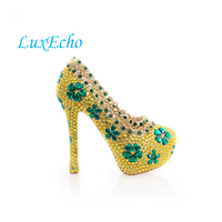 2016 Spring Gold Rhinestone Wedding Shoes Round Toe High Heeled Bridal Shoes Green Flower Crystal Shoes