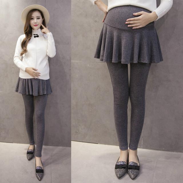 Calças de algodão de Maternidade Falso Duas Peças Maternidade Magros Leggings para Mulheres-cintura Alta Barriga Grávida Gravidez Roupas