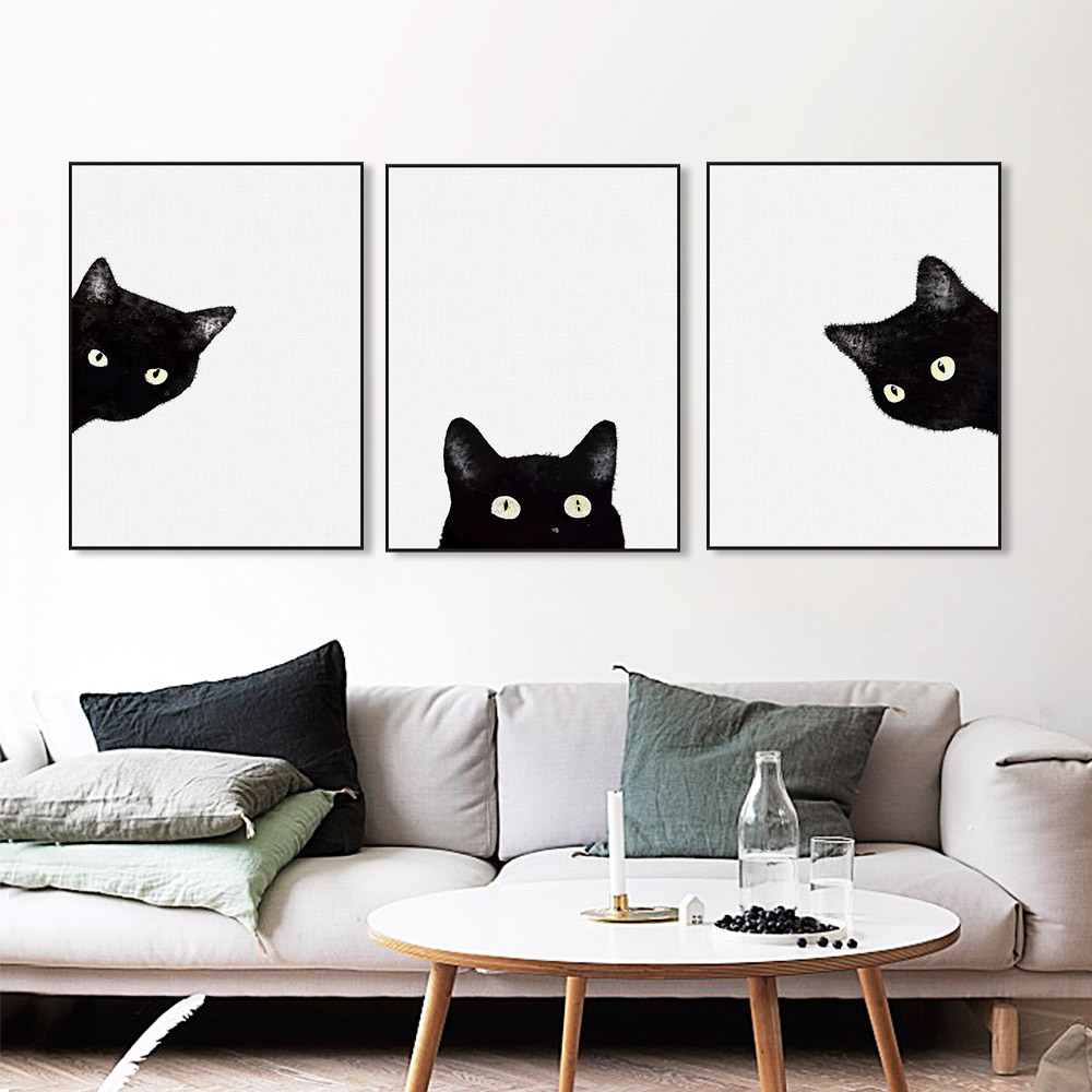 Cute Black Wall Decor : Kawaii watercolor black cat head animal art print poster