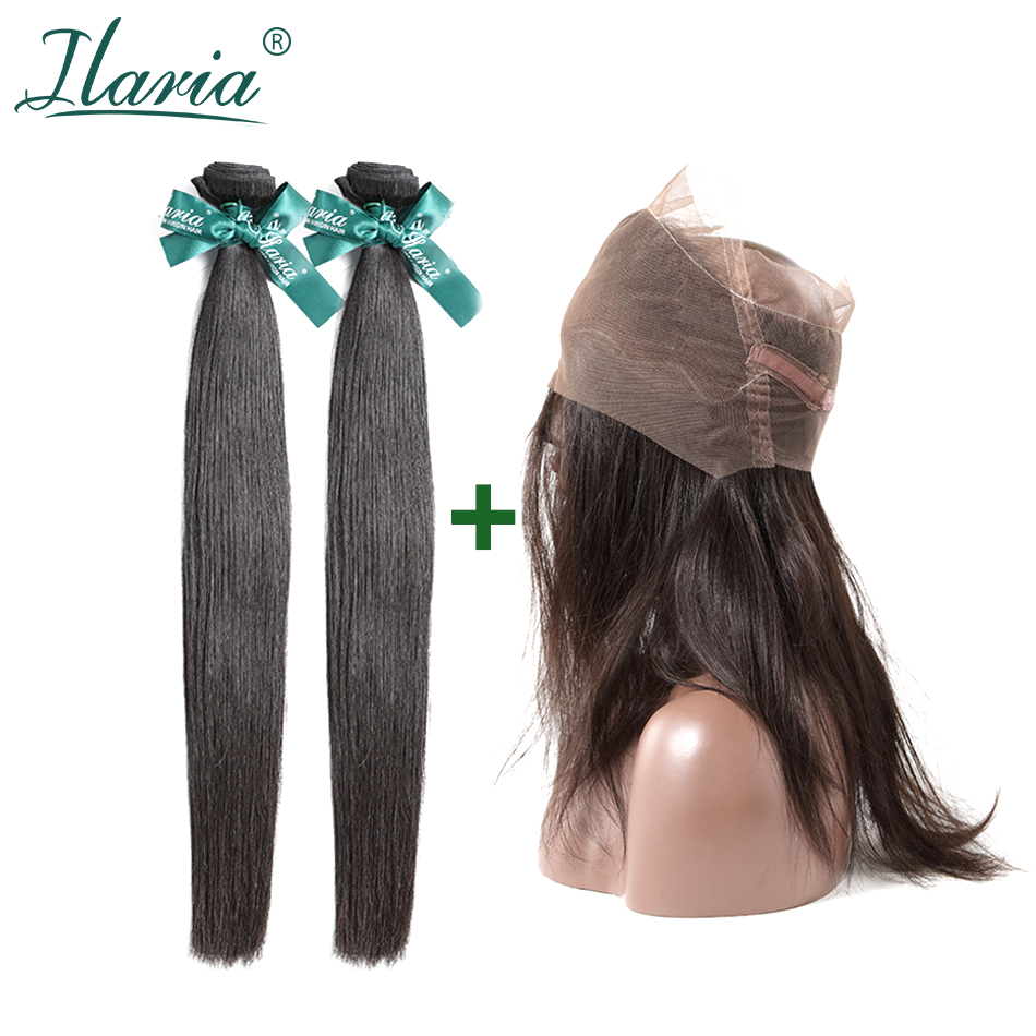 ILARIA HAIR Brazilian Hair 360 Lace Frontal With Bundle Straight Grade 7A 100% Virgin Human Hair Weaves 2  Bundles With Closure