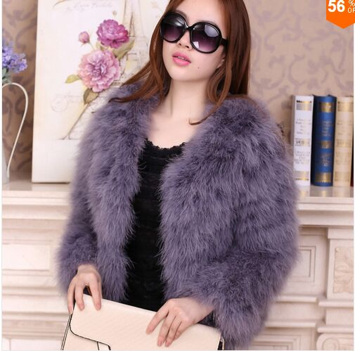 Women 2019 Real Fur Coat Genuine Ostrich Feather Fur Winter Jacket Retail / Wholesale Top Quality