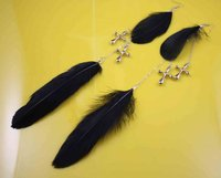 7a-17   cross silver   chain   Natural   black  Feather       Earrings   Jewelry    1pack /3 pair   SP130709