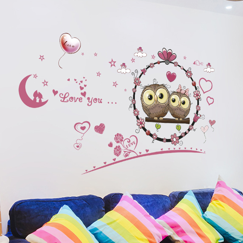 2017 Cute Owl Wall Stickers for Kids Rooms Good Night Moon