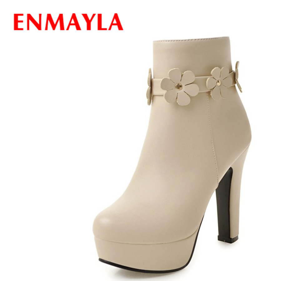 ENMAYLA Platform Floral Ankle Boots for Women Round Toe High Heels Wedding Shoes Woman Black White Pink Ladies Boots enmayla ankle boots for women low heels autumn and winter boots shoes woman large size 34 43 round toe motorcycle boots