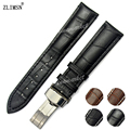 Watchbands 14mm ~ 26mm  100% Genuine Leather Black with Black stitched Watch Band Strap Belt Stainless Steel Buckle