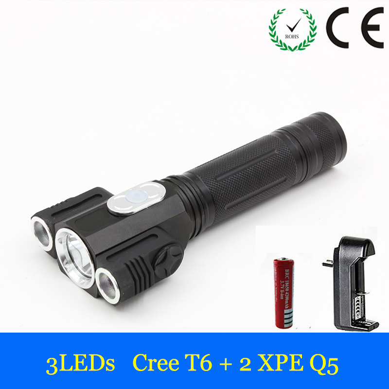 LED Flashlight CREE XML T6+2*XPE 2000 Lumens LED Torch Light LED Lantern Flashlight 4-modes Camping Fishing Bicycle LED Lamp 300 lumens led camping lamp light torch light flashlight 3 modes led camping light outdoor tent lantern for travel hiking