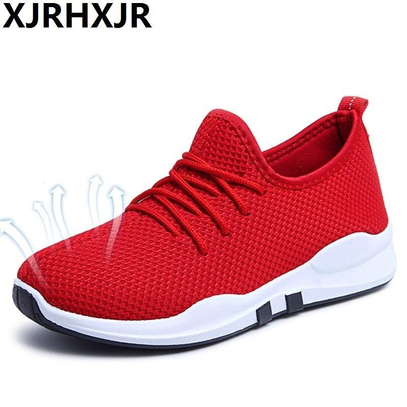 XJRHXJR Cheap! 2018 Solid Breathable Casual Women/Men Shoes Spring Autumn Mesh Flats Shoes Lace Up Light Trainers Plus Size 40