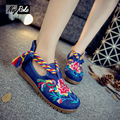 New Spring Fashion embroidered Women Casual Shoes Mary Jane Flats Retro Cloth ladies shoes woman thicken oxford Shoes for women