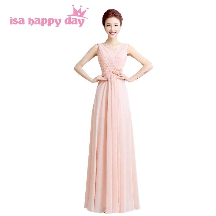 da07b54ac9 Light pink szyfonu bridemaid brides pokojówka sukienki nowe mody 2018  długie druhny formalna piętro długość v neck dress H2713