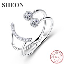 SHEON Authentic 100% 925 Sterling Silver Korean Trendy Geometric Open Size Rings for Women Wedding Engagement Jewelry Gift