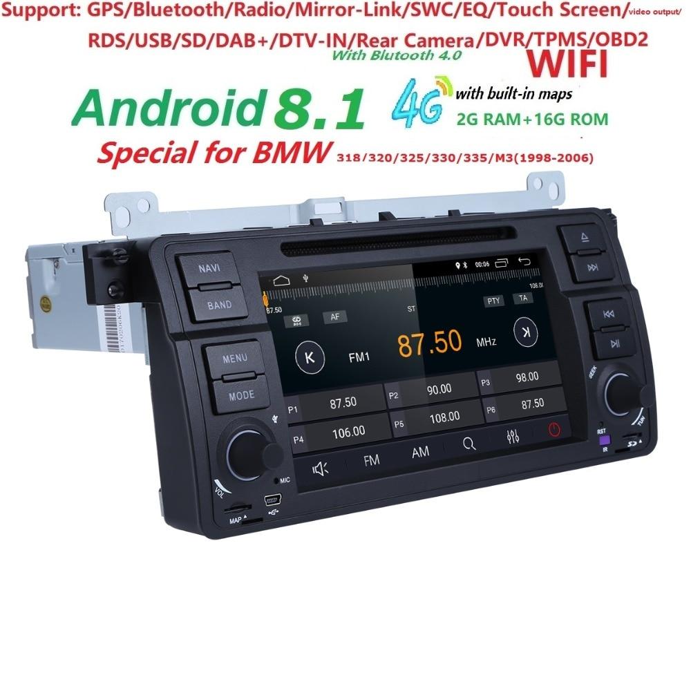 IPS 4 1Din Android8.1 DVD de Voiture Radio Pour bmw série 3 e46 2000-2006 Rover 75 1999-2005 MG ZT écran Tactile GPS DVR caméra Libre