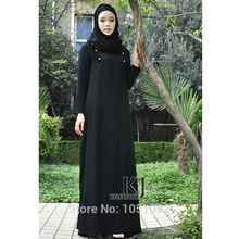 2016 dubai black abaya long muslim plus size double-breasted islamic  clothing arabic 26c6cece414b