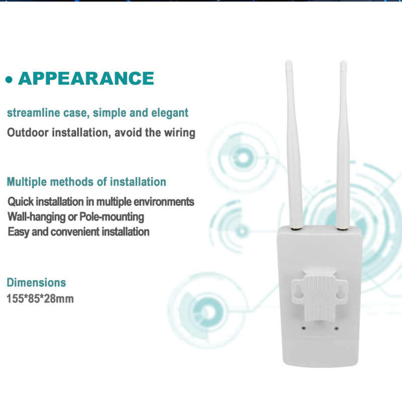 TIANJIE CPE905 במהירות גבוהה 4g lte wifi נתב IP66 עמיד למים חיצוני 4g cpe חיצוני כפולה אנטנה אלחוטי cpe נתב עם ה-sim