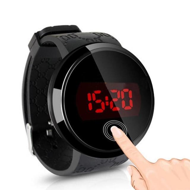752b2a7ab02 Moda Simples Tela de Toque LED Relógio Homens Silicone Relógio Digital de  Relógio Do Esporte Preto