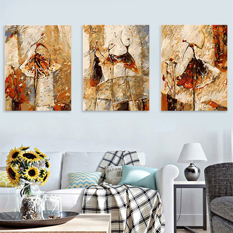 Triptych Abstract ballet dancer DIY Painting By Numbers Kits Paint On Canvas With Wooden Frame For Home Wall Deocr Gift MK093