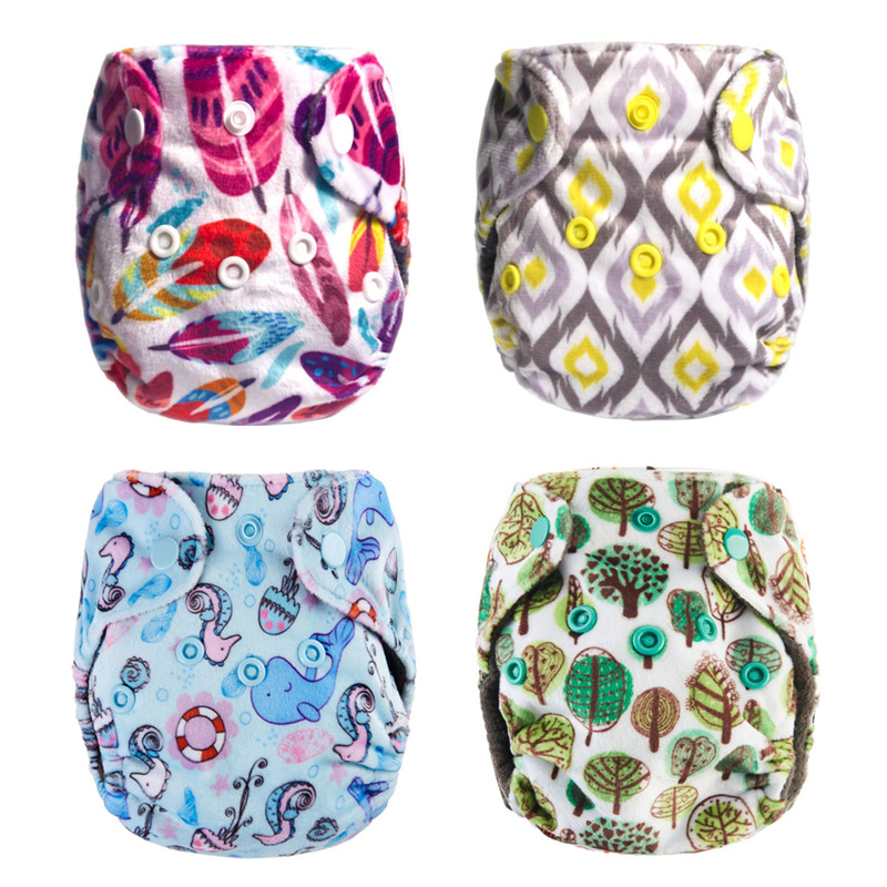 Thank U Mom Washable Newborn Cloth Diaper Baby Reusable Nappies Minky Fabric Bamboo NB Pocket Diaper Insert For 8-10lbs Babies