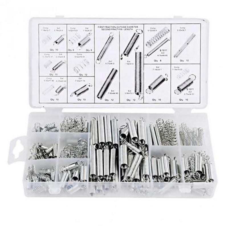 Spring Assortment Set 200 Pieces Zinc Plated Compression Extension Springs for Repairs Coil Spring Tension Spring Pressure Kit image