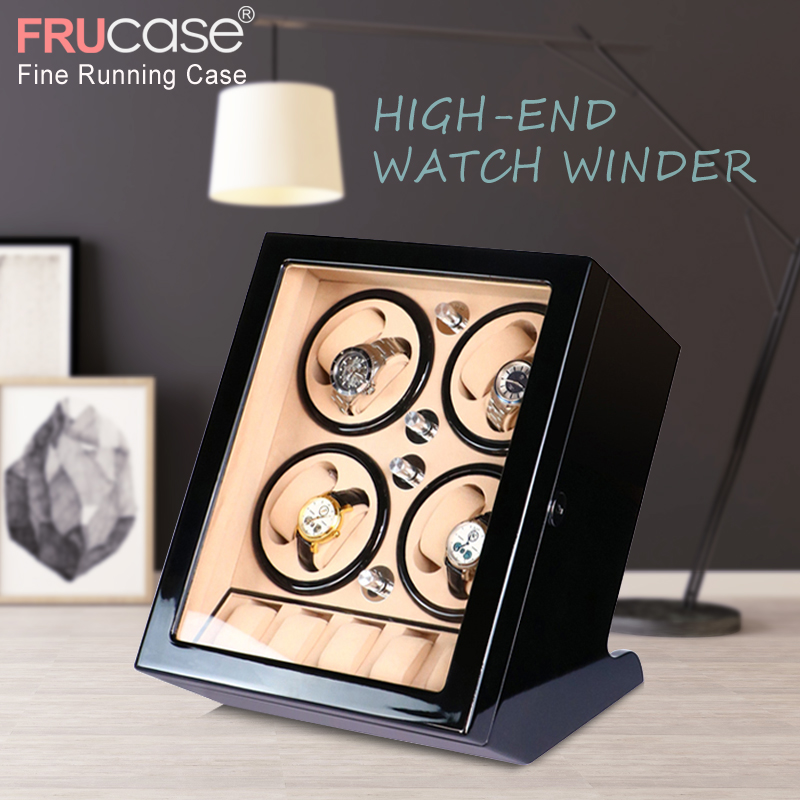 FRUCASE Black High Finish Automatic Watch Winder Box AC Power Operated Ultra-silence 8+5