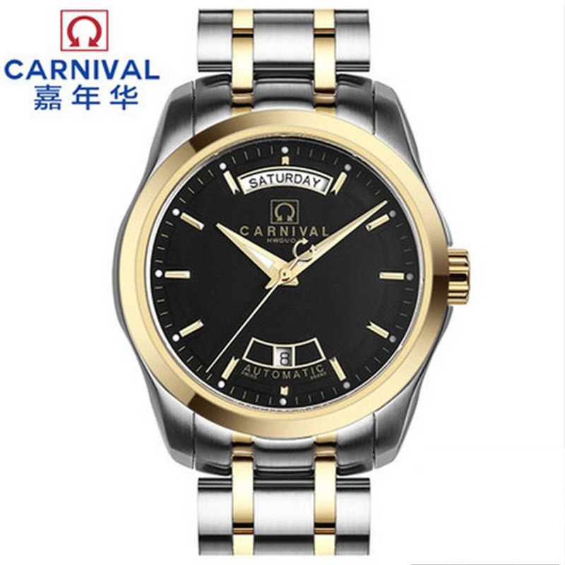 Classic Carnival Brand Watch Men Day-Date Mechanical Watches Male Waterproof 100m Gold Steel Strip Mens day-date Clock Hot carnival men watch top brand luxury automatic male clock calfskin band day and date display black lens mechanical watches hot sa