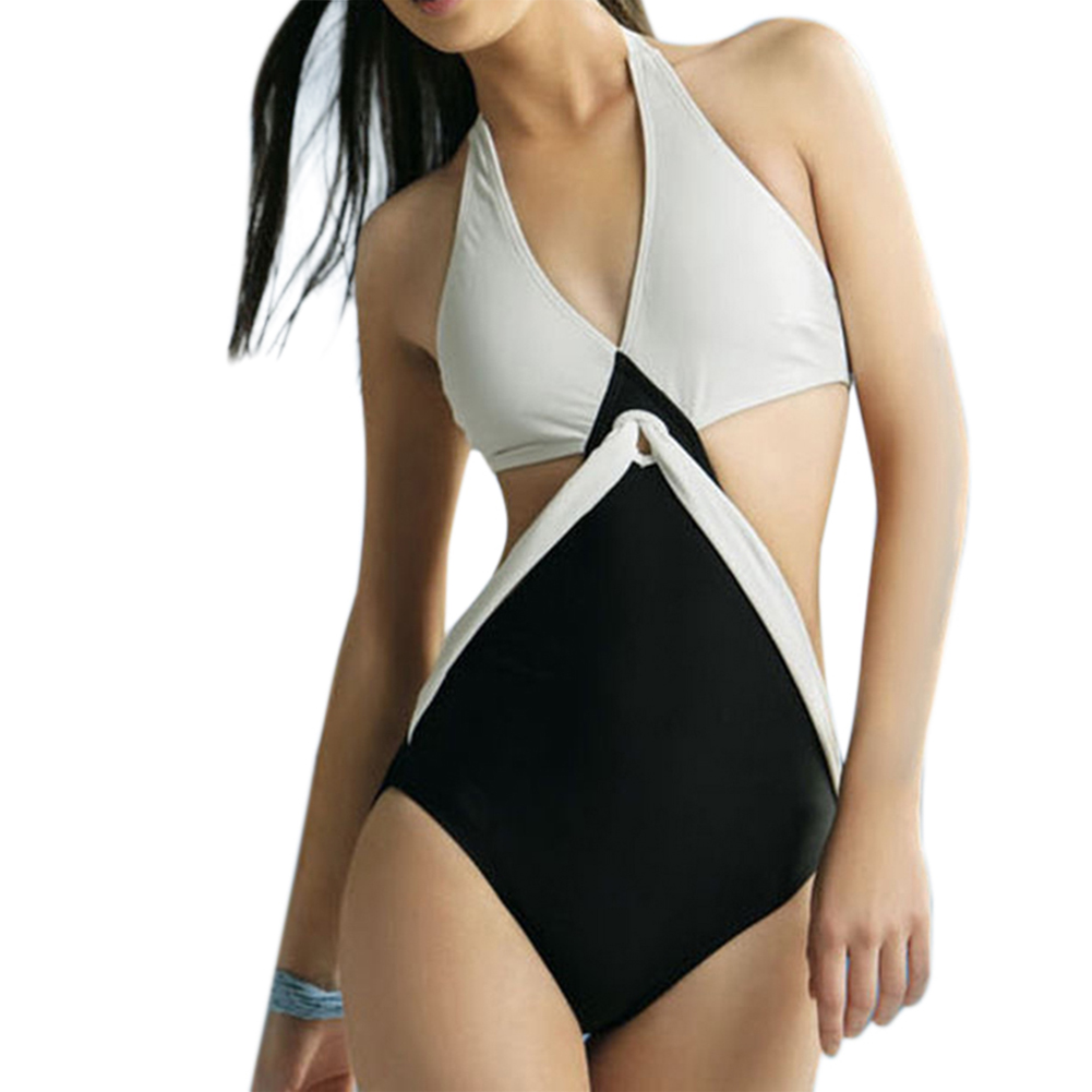 Black White Joint Color Push Up Padded Monokini One-Piece Bikini Swimsuit Triangle Swimwear Halter Neck Jumpsuits Bikini  4