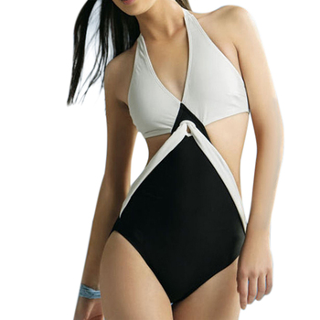 Black White Joint Color Push Up Padded Monokini One-Piece Bikini Swimsuit Triangle Swimwear Halter Neck Jumpsuits Bikini  4