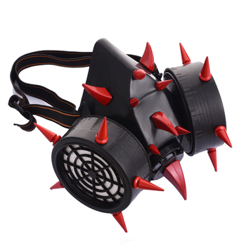 Unique Retro Steampunk Red Devil Horns & Rivets Gas Mask Respirator Cyber Goth Cosplay Masks Halloween Party Accessories  1