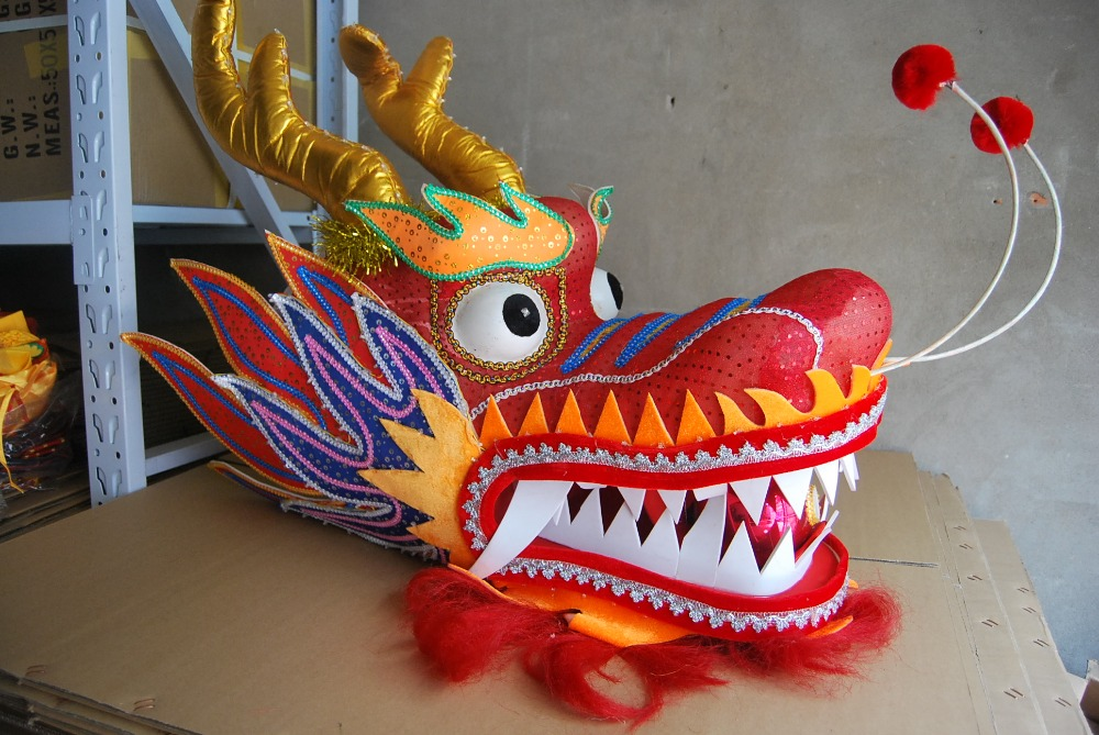 3,1 M barnstorlek LED-lampor CHINESE DRAGON DANCE silkFolk Festival Celebration Costume 4 barn att leka